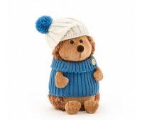 Ёжик Колюнчик в шапке с голубым помпоном 15см