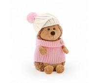 Ежинка колючка в шапке с розовым помпоном 15см